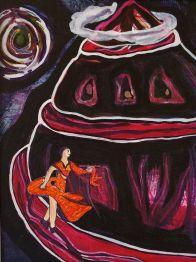 A Woman Spirals Down a Spiral Path In a Spiral Dress #2 (Acrylic Ink & Paper)