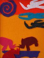 Rhinos Argue Territory Below As Three Women Head for the Sun Above